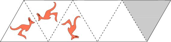 17. There is a picture of a kangaroo in the first triangle. Dotted lines act as mirrors. The first 2 reflections are shown. What does the reflection look like in the shaded triangle?