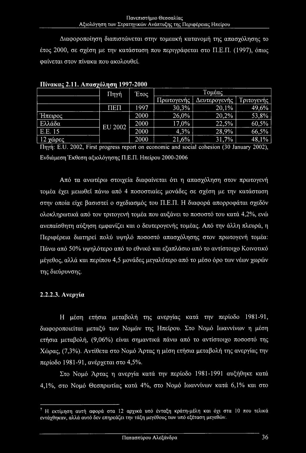 U. 2002, First progress report on economic and social cohesion (30 January 2002), Ενδιάμεση Έκθεση αξιολόγησης Π.