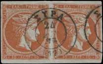 orange vermilion on lavender in pair, u. R and VF for this. (Hellas 40d-330E).