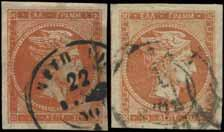 321 10l red-orange in pair, var double CF on both stamps