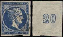 Thin spot otherwise VF and R. (Hellas 51c). Lot. 328 20l. royal blue (pos.