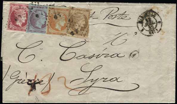 54 368 369 Lot. 368 Unpaid EL from «MARSEILE*12.JUIL.62» to Syra. Handwritten «132», fr. on arrival with 2l. brown-bistre, 10l. orange, 40l.