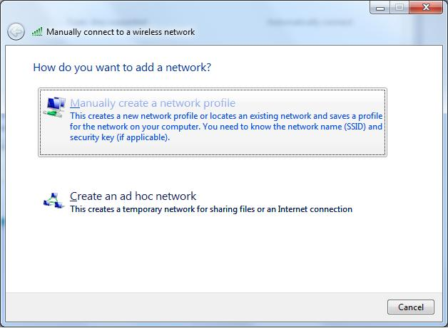 επιλέξετε Manually create a network profile: E:\savvasn\My