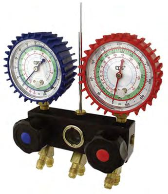 M2-2-DELUXE-DS-CO2 Manifold with oil filled gauges, hook, 3 charging lines 1/4 SAE, blue, red and yellow, length 36 inches-90cm packed in a