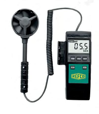 type anemometer with built- in thermometer provides quick measurements of grille/duct outflow temperatures.