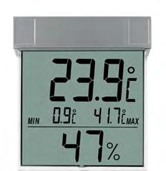 5V AAA Digital Thermo-Hygrometer 30.5023 With coloured comfort zones for a healthy room climate. With frame silver/plexiglass. With max.-min.-function, For hanging or standing, Reversible C/ F.
