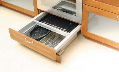 Glass unit C Aluminium framed sliding glass units on worktop