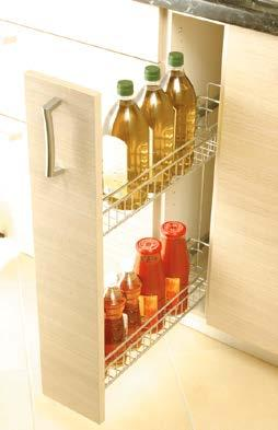Larder unit 300 mm Pull-out larder unit with controlled movement and 5 adjustable