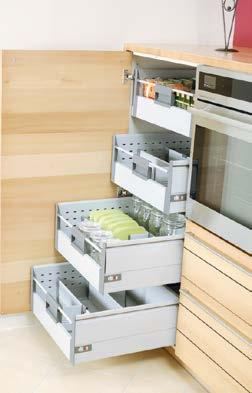 Lemans Corner pull-out unit with two shelves that independently turn to the front