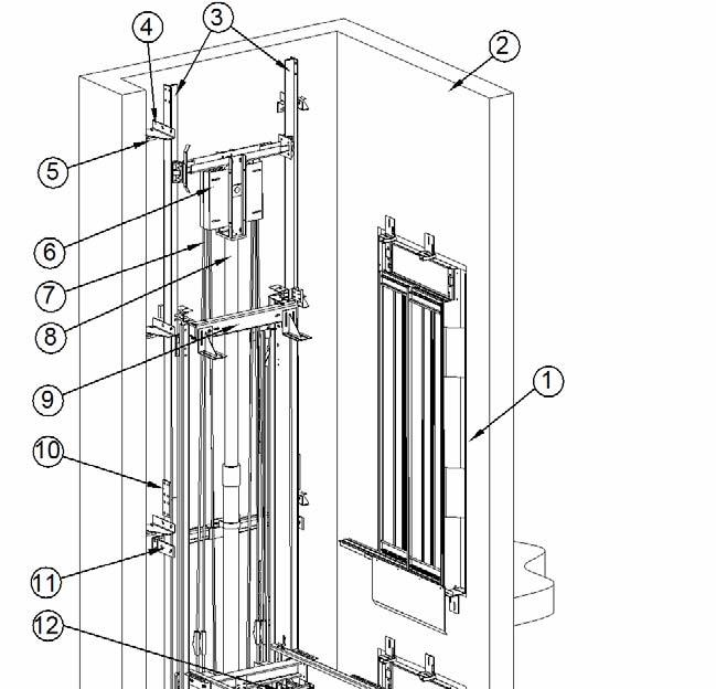Page: 3/23 3D layout 1. LANDING DOORS 2. SHAFT WALL 3. GUIDE RAILS 4. GUIDE RAIL BRACKETS 5 WALL BRACKETS 6. PULLEY 7. ROPES 8. JACK 9.