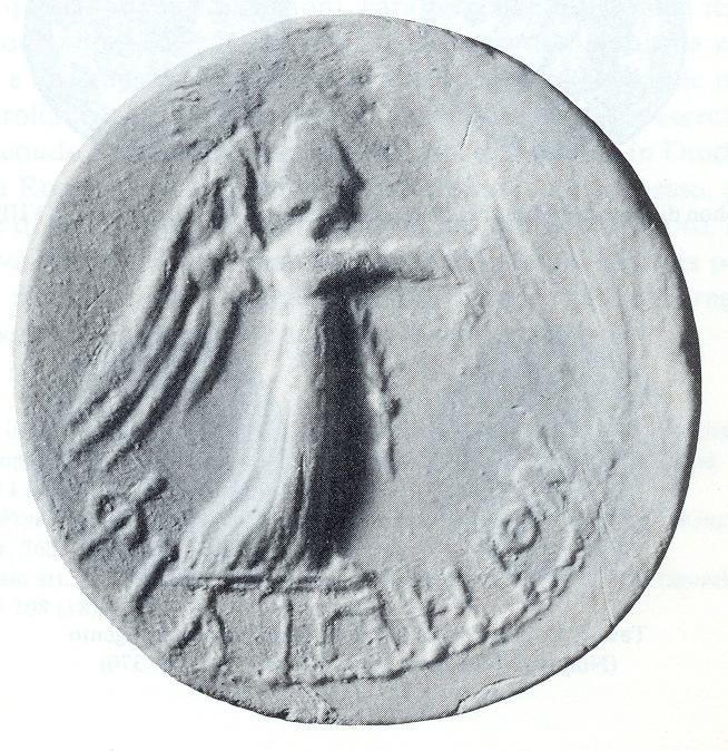 Rev: Seated soldier left on pile of armour (?), left hand holds a spear, the right hand a club (?); ΦΙΛΙΠΠΟϚ upwards at left.