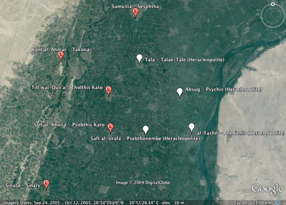 M AP S On the following satellite images from Google Earth I have pinpointed the modern sites identifiable with ancient Oxyrhynchite settlements (see Index V) together with some identifiable sites