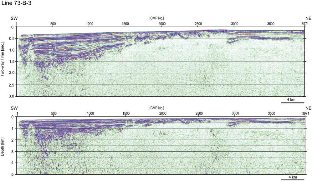 seismic section of the line 1- / and A-,. Fig.
