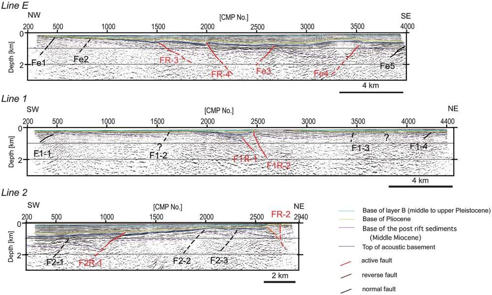 ,**1 Fig.,/. Geologic interpretation of the seismic sections Line E, Line + and,. Fig.,0.