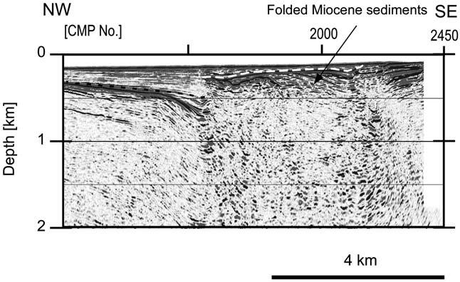 Fig.,1. Blowup of the seismic section of Line C, showing the late Miocene shortening deformation. 3/.,**1,**1 : 2,,-1,/..,**1,**1 11 0 /0, /00.,**1,**1 2, -*+ -+,. +32, / + +,+ p. Itoh, Y. and Y.