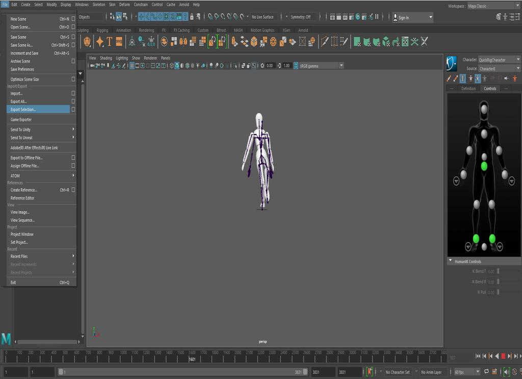 7. Export the animated model to an FBX file.