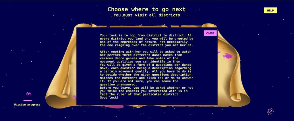 The player, having finished the book, now knows the story of the experience and is familiar with their task. As a result, the user clicks on the GO button to move on with the mission (Figure 38