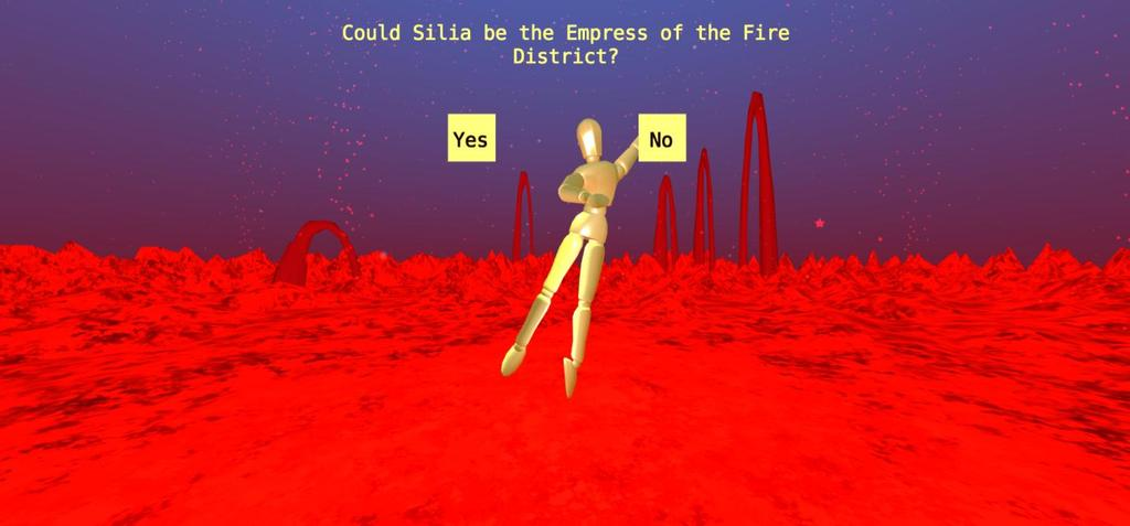 Figure 45: The Motion Hollow experience - The Fire District, Empress Question The user is prompted with aforementioned question (Figure 45) and, after giving it much