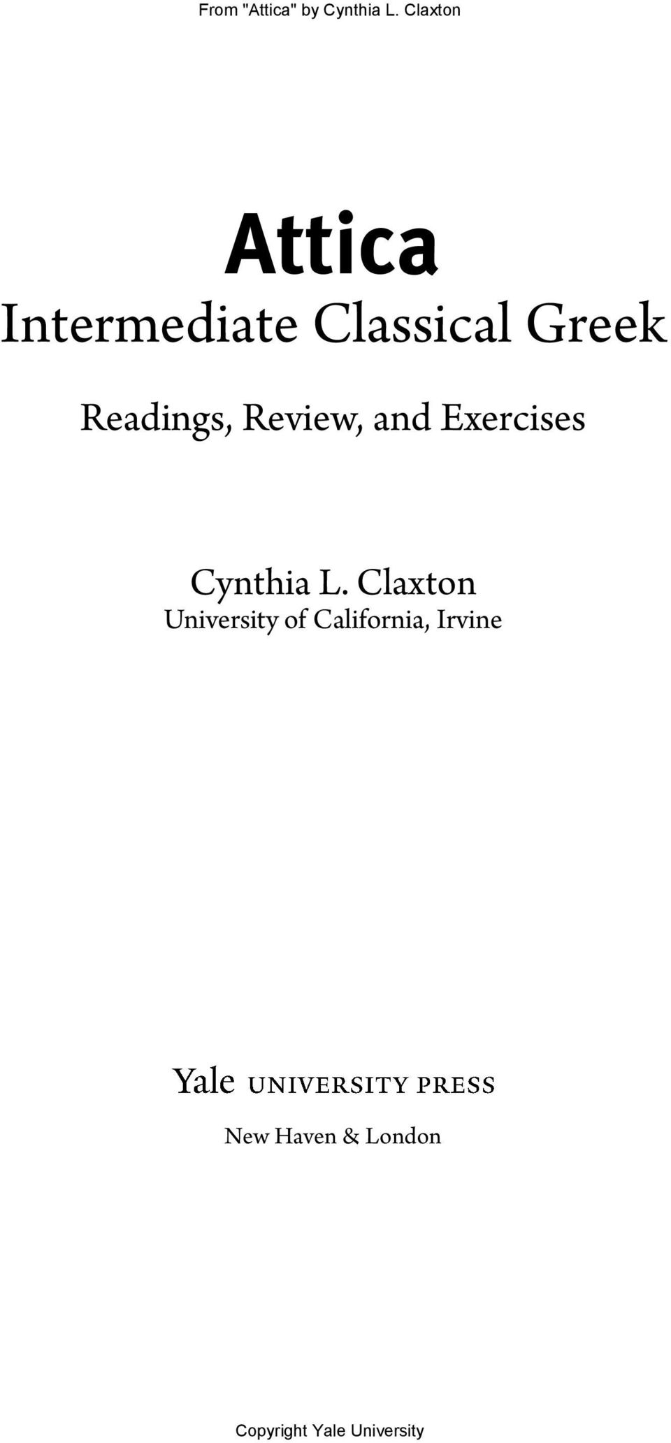 and Exercises Intermediate Classical Greek Readings Review Attica