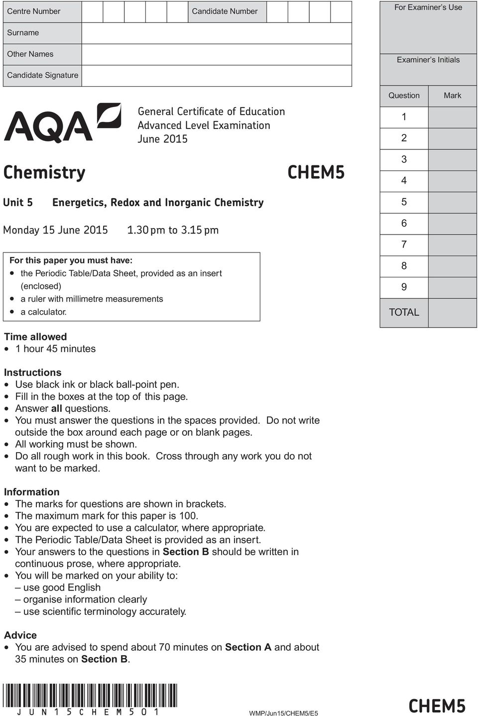 Chem5 jun15chem501 general certificate of education advanced level 15 pm for this paper you must have the periodic tabledata sheet urtaz Image collections